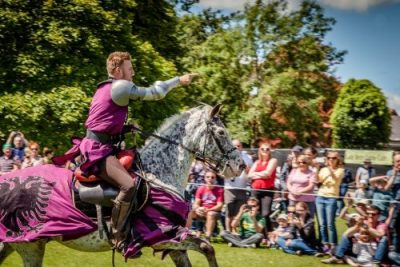 Flavours of Fingal Country Show Dublin Ireland - The Cavalry of Heroes Medieval Jousting Horse Stunt Show - Knight Sir Robert riding Apollo