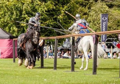 Flavours of Fingal Country Show Dublin Ireland - The Cavalry of Heroes Medieval Jousting Horse Stunt Show - Sir Lancelot against the Dark Knight Smash Lance