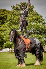 Flavours of Fingal Country Show Dublin Ireland - The Cavalry of Heroes Medieval Jousting Horse Stunt Show - THe Dark Knight, Lord Pendragon, standing on Guinness Trick Riding