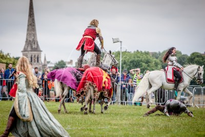 Lambeth Country Show - Brockwell Park - Medieval Jousting Tournament with The Cavalry of Heroes, Knights on Horseback Main Arena Stunt Horse Show 2017 - Sir William Roman Riding