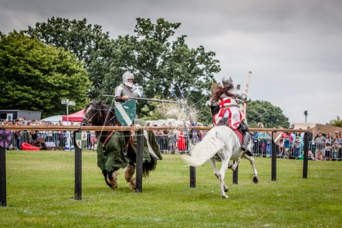 Lambeth Country Show - Brockwell Park - Medieval Jousting Tournament with The Cavalry of Heroes, Knights on Horseback Main Arena Stunt Horse Show 2017 - The winning strike