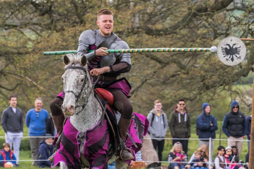 Sudeley Castle Medieval Jousting Show 2017 - Target Practice with Knight on horseback