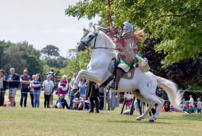 Lady Lancelot Knight on Horseback at Flavours of Fingal Country Show Dublin Ireland 2018