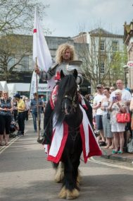 Publicity - Stunt with Knights on Horseback St George in Aylesbury from Marc Lovatt and The Cavalry of Heroes