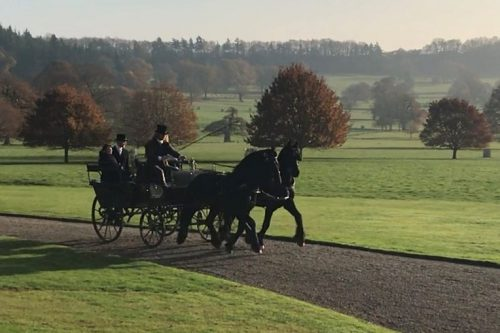 Photoshoot - Friesian Horse Drawn Carriage at 18th Century Georgian from Marc Lovatt and The Cavalry of Heroes Film Horses and Carriages Wagonette