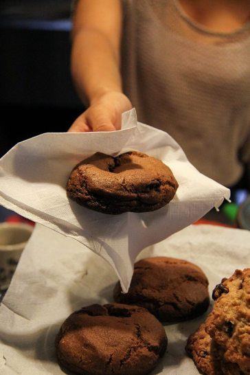 Serving a delicious, fresh baked, homemade Malted Chocolate Chip Cookie