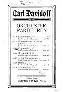 Davidoff C. – Cello Concerto No 2 in A minor, Op. 14
