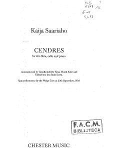 Saariaho K. - CENDRES for alto flute, cello and piano