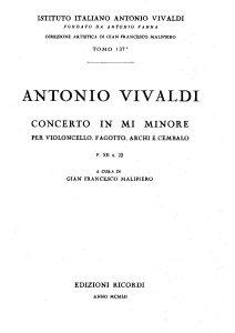Vivaldi A. - Concerto for cello, bassoon, strings and b.c. e-moll, RV409