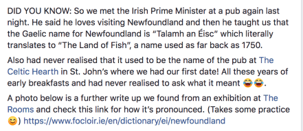 The Celtic Hearth's facade Land of Fish Newfoundland