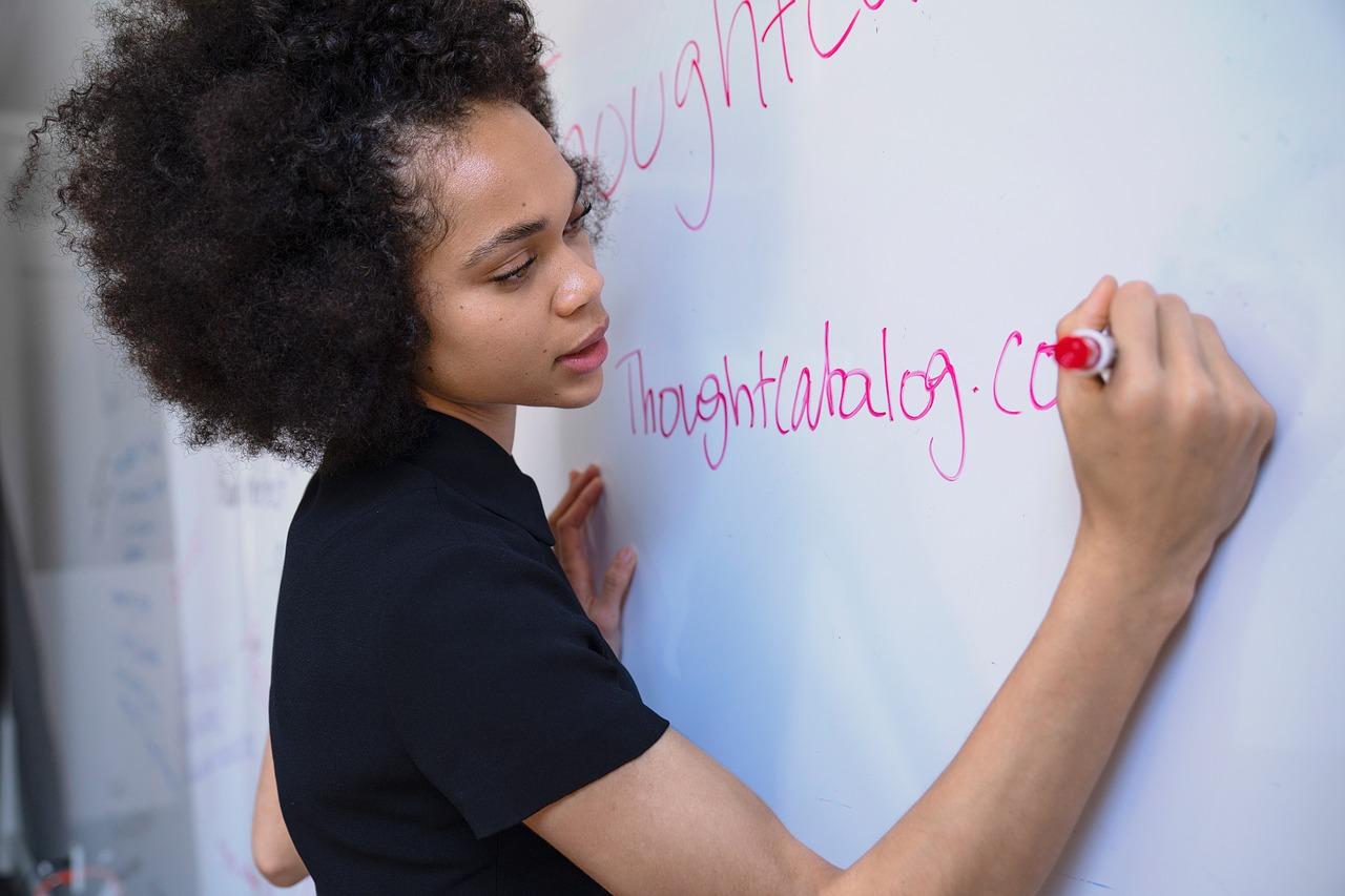 woman, writing, marker