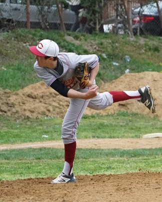Sam Greene (275) throwing a pitch. Photo Credit: Gentian Alimadhi