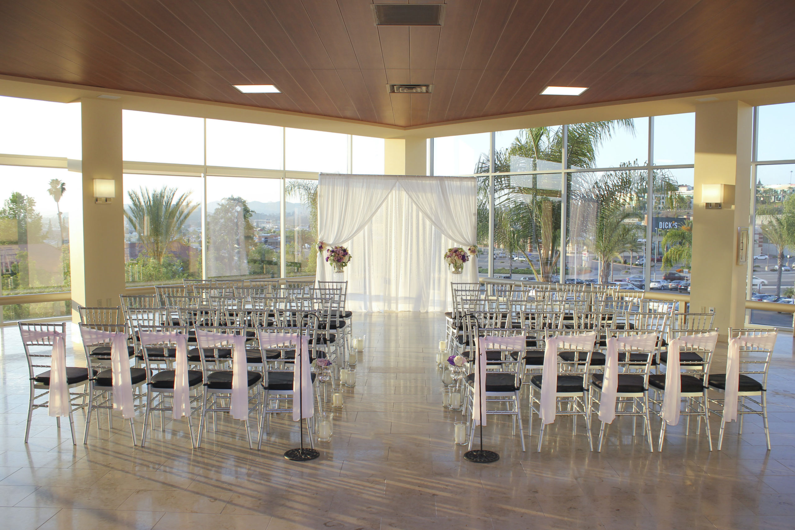 A micro wedding venue in San Diego County set up with about 36 chairs and a beautiful space for the couple to stand for their vows