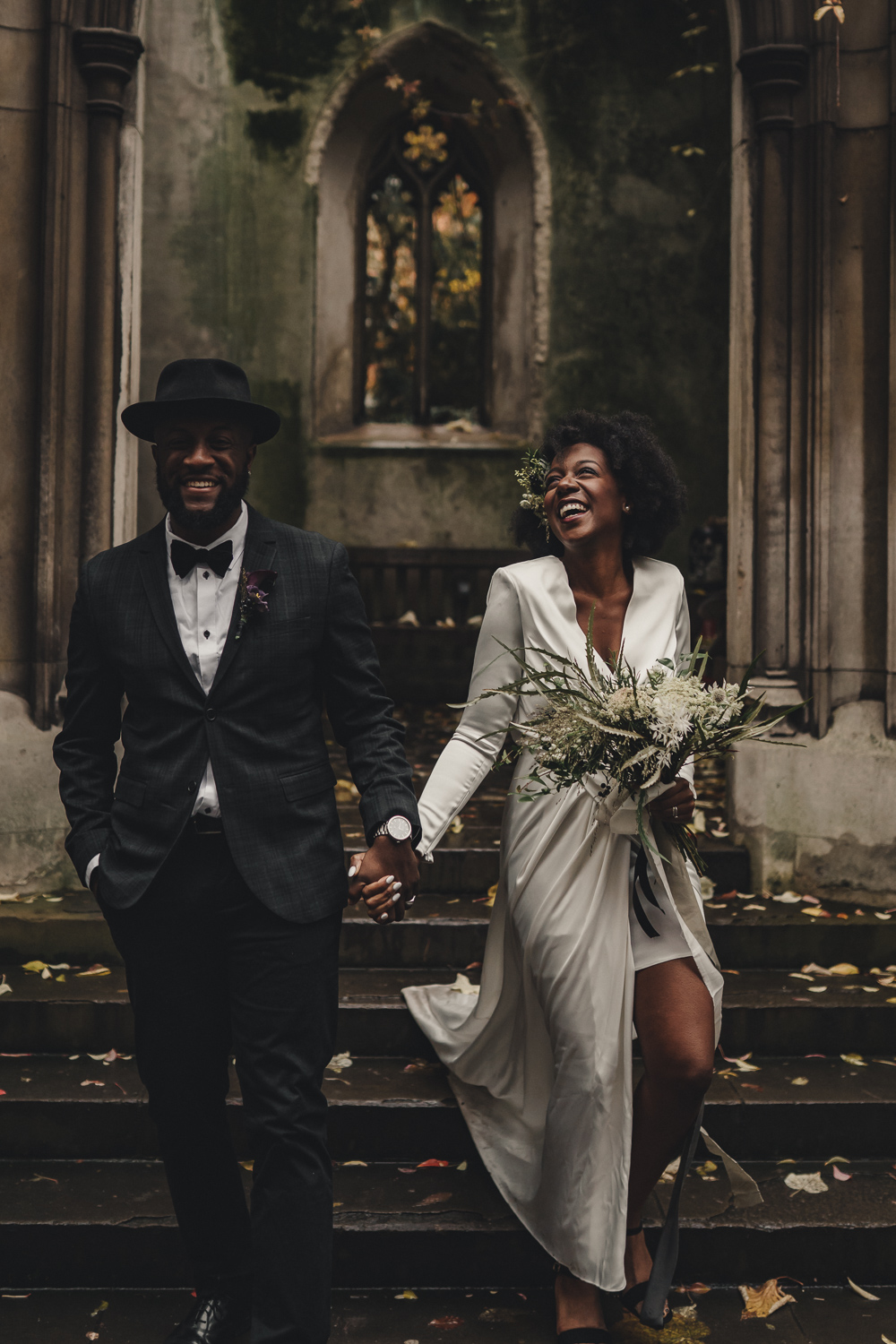 Alternative and Stylish Black Couple Wedding in St Dunstans in the East | The Chamberlins Alternative London Wedding Photography