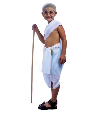 Kid dressed up as Gandhiji