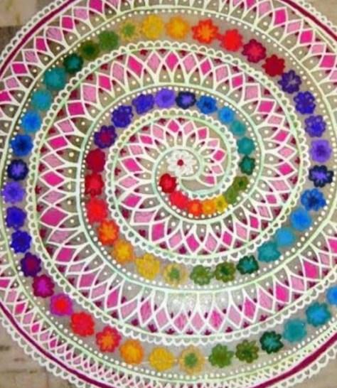 Diwali rangoli designs shapes for kids
