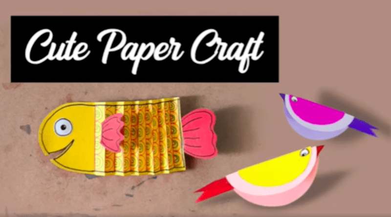 Easy Paper Crafts For Kids - paper fish and bird