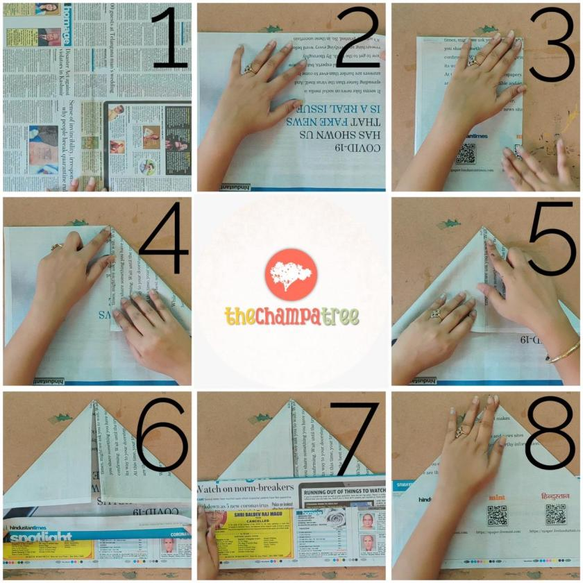Newspaper art and crafts step by step tutorial steps 1 to 8