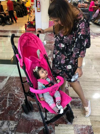 Real mom Neha Chauhan with her daughter in pram