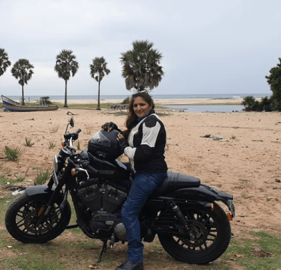 Lady biker - Manoshi Mistry on her bike