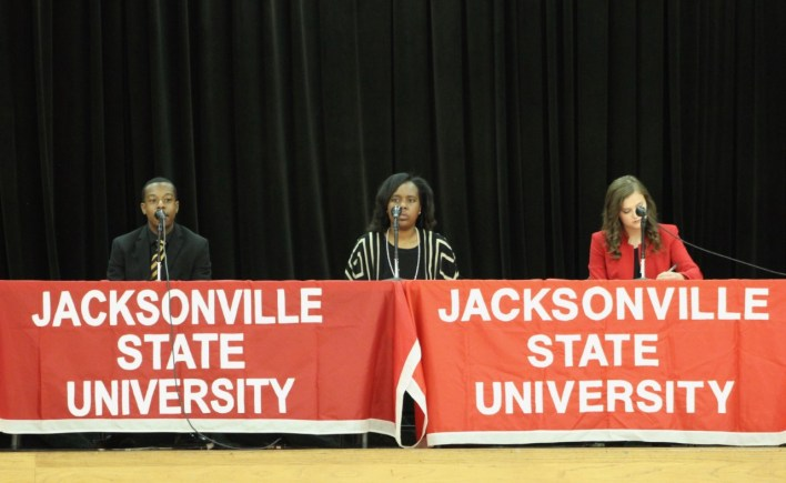From left, VPSA candidates CJ Abernathy, Chelsea Carlisle and Kasey Gamble sit on the panel at the SGA debate,