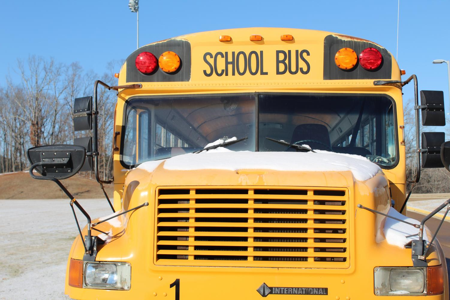 School bus gets covered in ice and snow during days out of school. Students did not have to go to school from Jan. 12 through Jan. 18.