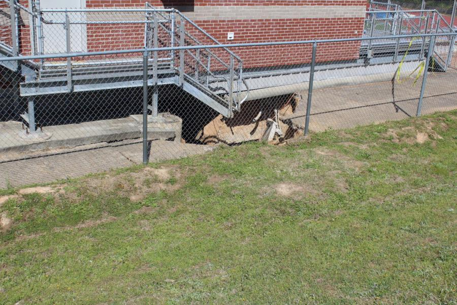 BREAKING NEWS: Sinkhole appears behind OHS football stadium press box