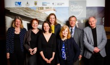 Left to right: Dr Alyson Hallett, Tania Hershman, Samantha Weaver, Kathryn Simmonds, Jo Haslam, Chair of The Charles Causley Trust David Fryer, Victor Tapner