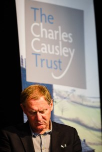 Patron of The Charles Causley Trust, Sir Andrew Motion, reads at the launch of Charles Causley's House, Launceston Town Hall, July 2014
