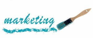 Marketing word painted and brush