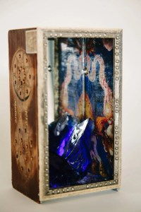 """Cobalt Chunk Story, 2014, by Thea Fiore-Bloom. Assemblage/mixed media: wood, glass, paper, silver, moonstone, 4''x 5''x 9''. Photo: Radiant Photography S.Chanson. Copyright © 2014 Thea Fiore-Bloom. Used by permission of the artist. . <a href=""""https://www.etsy.com/shop/EnchantedMuseum"""">Click here to visit my Etsy shop.</a>"""