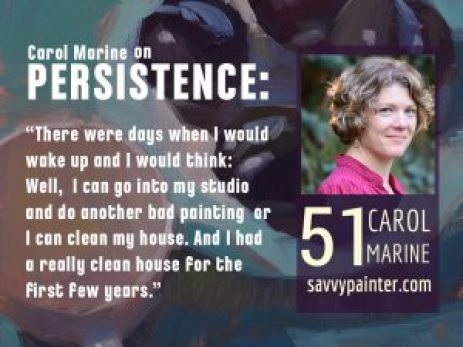 graphic for Savvy Painter podcast, with artist Carol Marine