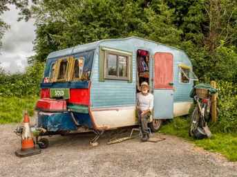 Creative person in his camper van