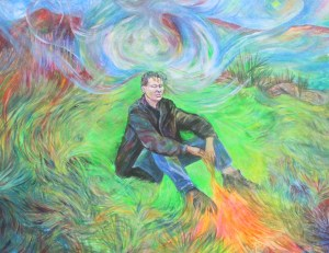 meditation for artists, color pencil drawing of artist meditating in an energy field