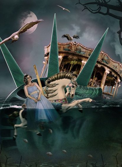 Digital art by Spencer of carnival sinking in water, another work addressing creative self-doubt