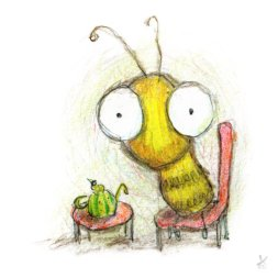 Yana Miller's illustration of a honey bee drinking tea from a watermelon shaped tiny teapot