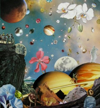 """Twilight Time,""analog collage by artist and subscriber Shawn Marie Hardy. Size: 11.8 H x 10.8 W x 0.1 in.  A detail of this artwork was used for the banner image of this post.Used with permission of the artist."