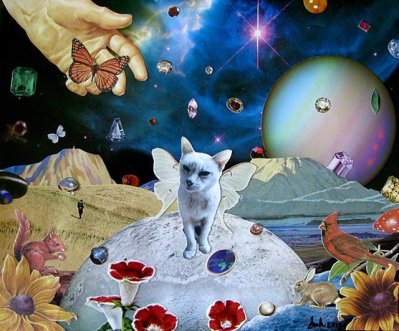 """""""Memories of Biscuit,"""" Analog collage by artist and subscriber <a href=""""http://www.shawnmariehardy.com"""">Shawn Marie Hardy</a>, 2017. Used by permission of the artist."""