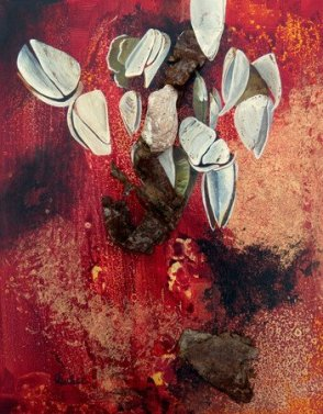 Shell and rust evolution painting for Rachel Carson post