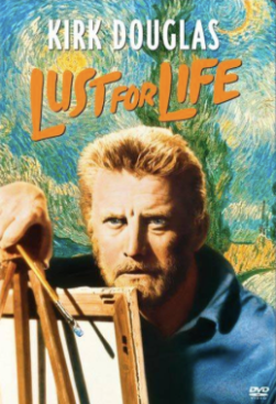 """movie poster. Kirk Douglas in his role as van Gogh in the 1956 film """"Lust for Life,"""" based on novelist Irving Stone's fictionalized re-imagining of the van Gogh's life story, which cemented the Van Gogh suicide myth in amber."""