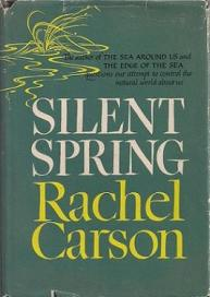Vintage laden green book cover for Silent Spring by Rachel Carson