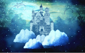 """Christy's post troll artwork: """"Castle in the Clouds,"""" digital art by Christy. Used with permission of the artist."""