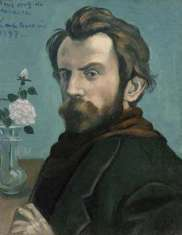 Self-Portrait, oil on canvas by Émile Bernard,(a possible key spreader of the van Gogh suicide myth) 1897; in the collection of the Rijksmuseum, Amsterdam.