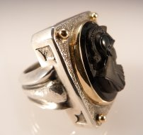 """Limited Production Intaglio Ring,"" Sterling, 14kt Gold, Onyx. Copyright ©2015 <a href=""http://www.clearmetals.com"">Barbara Klar</a>. Used by permission of the artist."