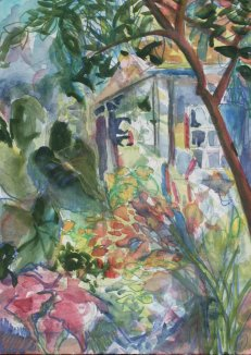 watercolor of garden for windows and daydreaming
