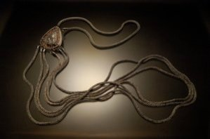 """Artist veteran Lindsay Zike's jewelry photo: """"Lavinia's Body Chain"""" 2014, by <a href=""""http://www.zikestudios.com"""">Lindsay Zike</a>. Sterling Silver, Fine Silver, Copper, Tourmaline, Druzy Crystal, 2.25""""x1.75"""" (pendant) 149"""" (chain). © 2014 Photo by Victoria Altepeter. Used by permission of the artist."""