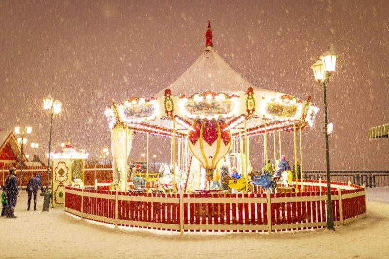carousel in winter.