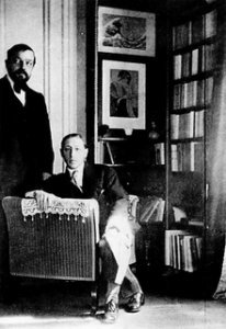 Debussy ( a star of the music of impressionism) with Igor Stravinsky: photograph by composer Erik Satie, June 1910, taken in Debussy's apartment in the Avenue du Bois de Boulogne.