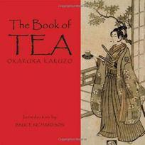 Cover of The Book of Tea by Kakuzo with a samurai holding a cup of tea in a garden