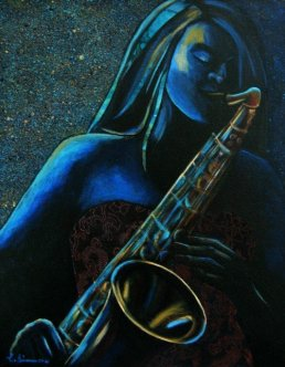 woman playing sax for artists and priorities post